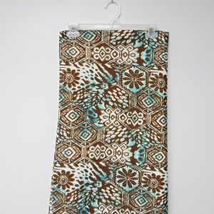 VTG 70s green, white, & brown batik print fabric